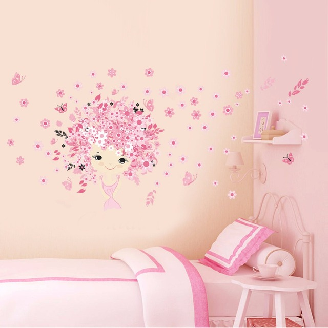 2016 New Pink Princess Castle Wall Stickers Removable PVC Wall Sticker For  Kids Room Home Decoration