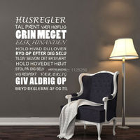 House Rules Wall Stickers Danish Vinyl Wall Art For Room Decor