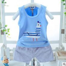 Meninos Do Bebê Do Algodão Conjunto de Roupas de verão Camisa + Shorts Crianças Verão Conjunto de Roupas Infantis Menino Definir Criança Sem Mangas Sportwear