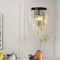 現代のクリスタルの装飾壁ランプアメリカの黒鉄の壁ライトインテリア照明寝室のベッドサイドランプのリビングルーム|LED 室内壁掛け照明|   -