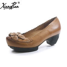 Xiangban women shoes medium heel mother rough with casual women pumps pointed head genuine leather handmade