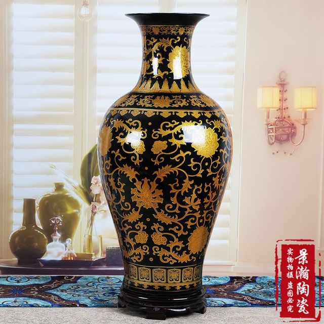 c ramique vernis noir or queue de poisson grand plancher fleur de vase d coration de la maison. Black Bedroom Furniture Sets. Home Design Ideas