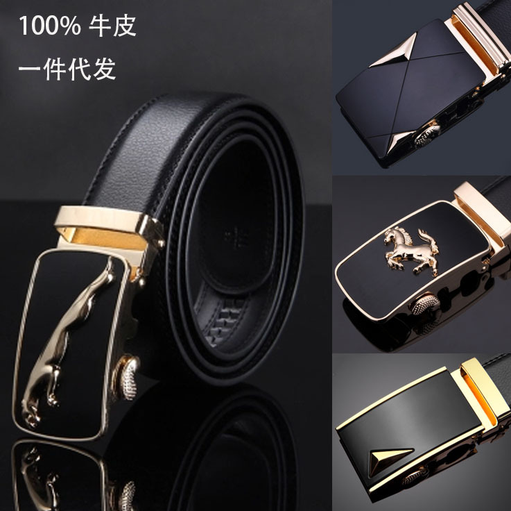 New Famous Brand   Belt   Men 100% Good Quality Cowskin Genuine Luxury Leather Men's   Belts   for Men,Strap Male Metal Automatic Buckle