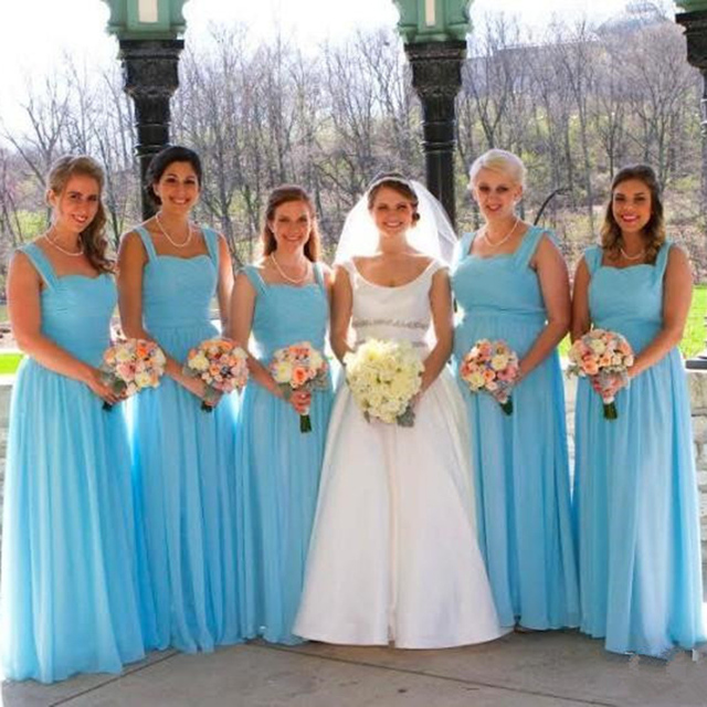 73983e5c45 Cheap Sky Blue Long Chiffon Bridesmaid Dresses With Straps A-Line Maid of  Honor Dresses Floor length Prom Party Gowns Plus Size