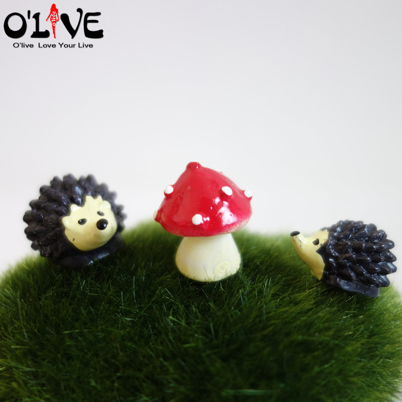 3 Pcs Set Hedgehog Mushrooms Fairy Garden Miniatures Home Decorations  Kawaii Resin Crafts Figurines Bonsai Micro Landscape DIY In Figurines U0026  Miniatures ...