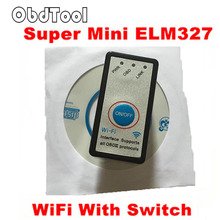 ObdTooL 2018 MINI ELM327 WIFI ON/OFF Switch V1.5 ELM327 WIFI OBD2/OBDII ELM 327 CAN-BUS Diagnostic Tool for IOS Android LR15