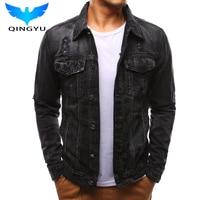 Button Single Breasted Windproof Men Hole Beggar Windbreaker Jacket Coat 2018 New Brand Jacket Hooded Demin Men Jacket