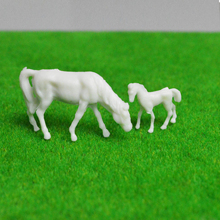100pcs HO Scale Model UnPainted White Farm Animals Horse 7 Poses 1:87