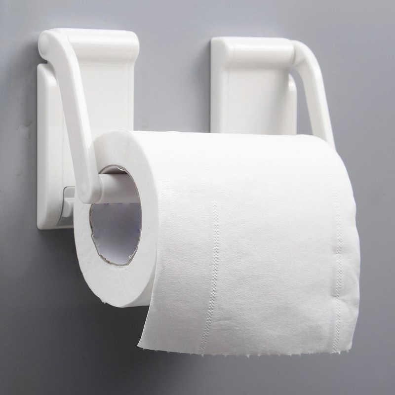 1Pc 9*4.5cm White Plastic Magnetic Paper Towels Holder Adjustable Toilet  Paper Roll Holder Kitchen Paper Towel Rack Roll Holder