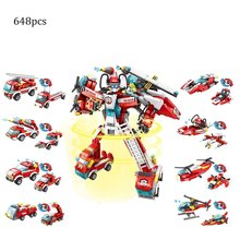 648pcs Fireman Fight Building Blocks City DIY Bricks Model Figures Educational Kids Toys Compatible 922pcs mine mountain building blocks my world figures bricks educational toys for kids compatible with legoed minecrafted city