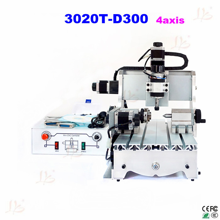 Newest 4axis cnc router 3020T-D300 mini cnc milling machine with white controll box engrave machine good quality mini cnc 4 axis milling machine small cnc router with high speed