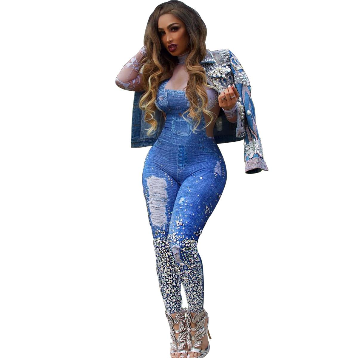 a0725e2668 2019 Fashion Cowboy Bib Pants Printing Jumpsuit Women Slim Casual Pants  Denim Rompers Sexy Tights Blue Women Trousers Jumpsuit