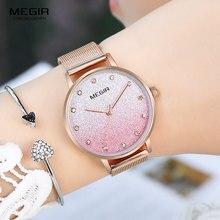 MEGIR Simple Quartz Watches Women Rose Gold Milanese Mesh Bracelet Lady Wrist Watch Luxury Top Brand relogio feminino 4215 Pink