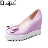 DoraTasia New Big Size 34 43 Round Toe Platform Sweet Bowtie Woman Shoes Slip On Wedges