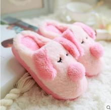 Winter cute cartoon pig plush rabbit home floor trailer package with the men and women warm cotton slippers 075
