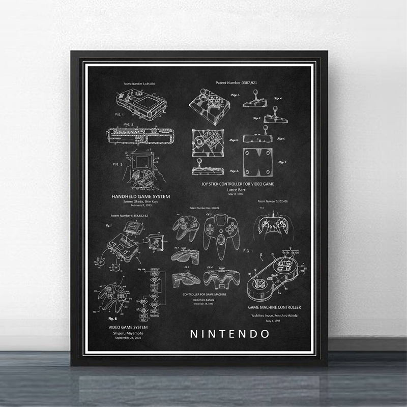 Japanese Video Game Vintage Patent Blueprint Print Gaming Wall Art Poster Decor Super Mario Gamer Canvas Painting For Boys Room