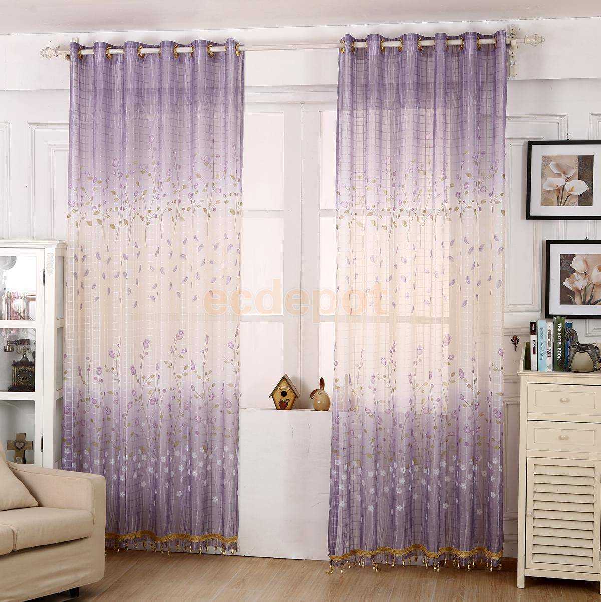 Sheer plum curtains - Purple Tulips Sheer Tulle Curtains Window Blinds Panel With Beads 250 X100cm China