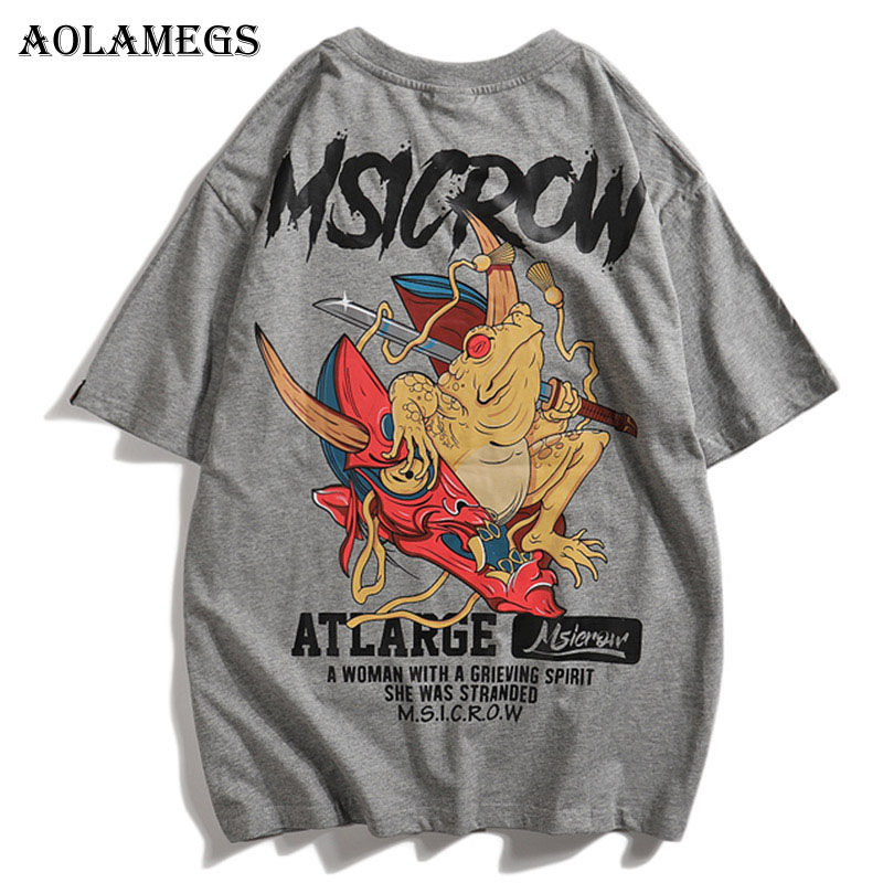 Aolamegs Men T Shirt Cartoon Animal Printed Men's Tee Shirts O-neck T Shirt Short Sleeve Fashion High Street Tees Streetwear