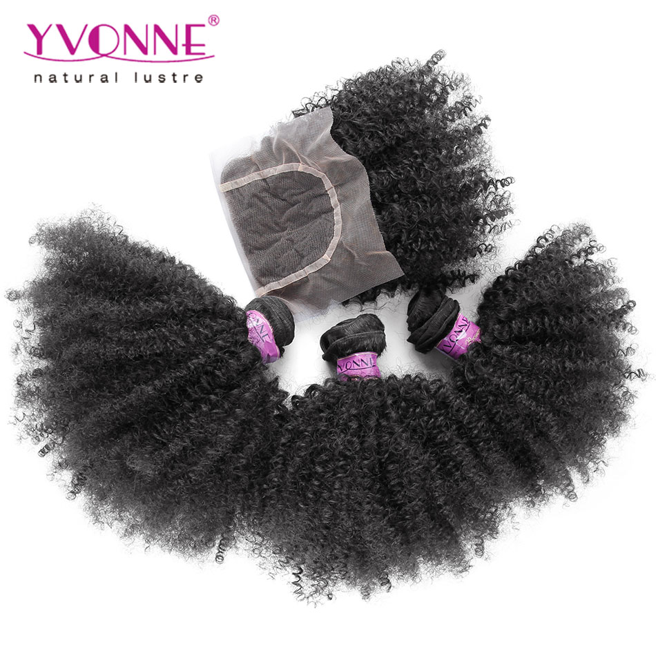 3 Bundles Brazilian Virgin Hair With Closure, Top Quality Afro Kinky Curly Hair, New Arrival Aliexpress YVONNE Hair Products