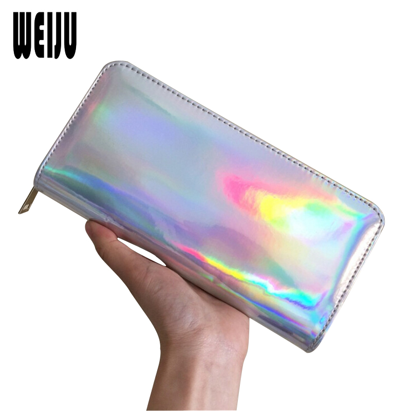 WEIJU 2018 Fashion Laser Wallet Female Clutch Long Holographic Ladies Bag Zipper Purse Card Holders Women Wallets Luxury Purses