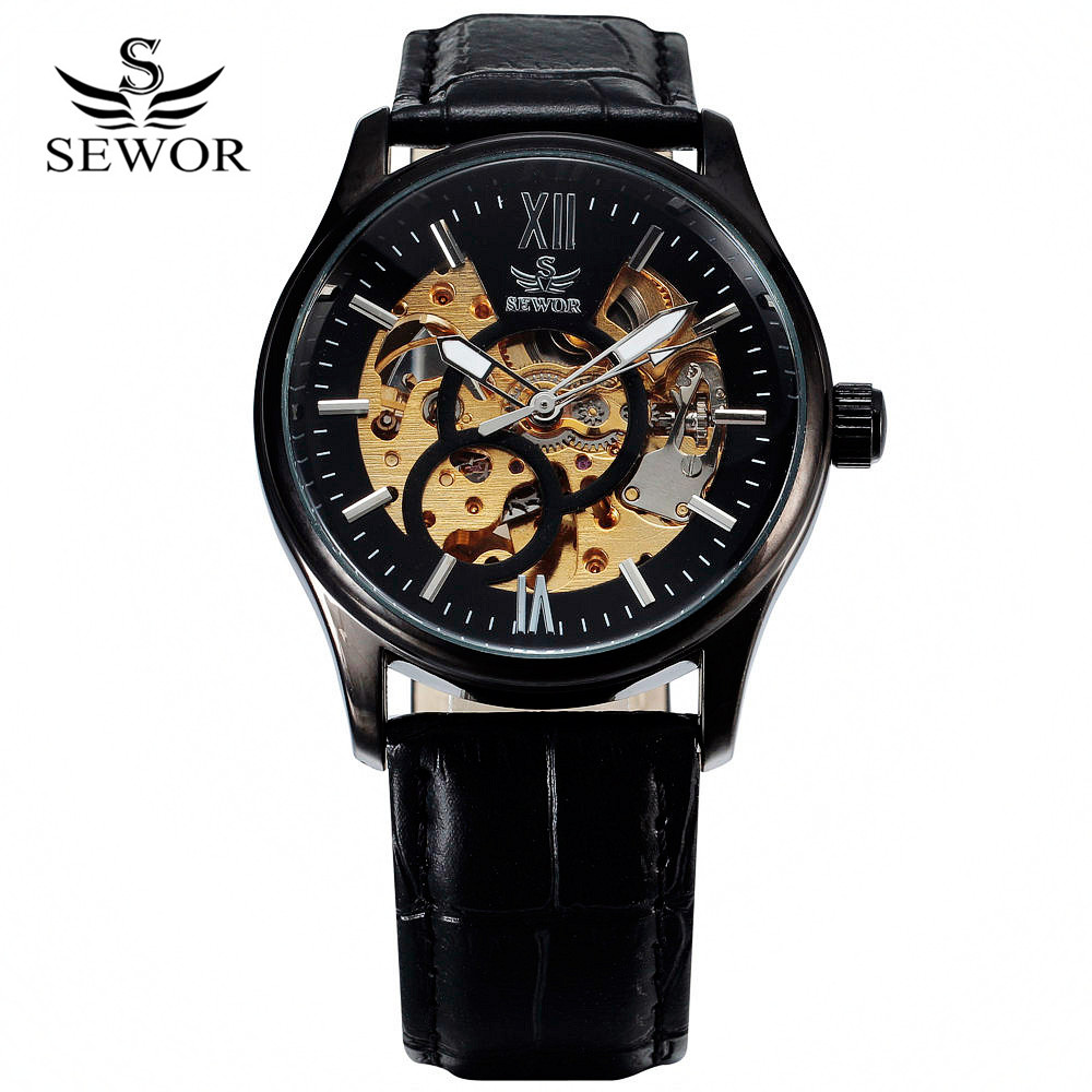 2016 SEWOR Brand Design Leather Skeleton Man Male Sport Clock Business Automatic Mechanical Self Wind Fashion Wrist Luxury Watch shenhua brand black dial skeleton mechanical watch stainless steel strap male fashion clock automatic self wind wrist watches