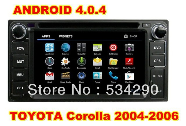 6.2 inch Android 4.04 TOYOTA Corolla 2004-2006 CPU Cortex A10  Car DVD GPS Player Radio PIP 3D Free 4G Map & WIFI Dongle