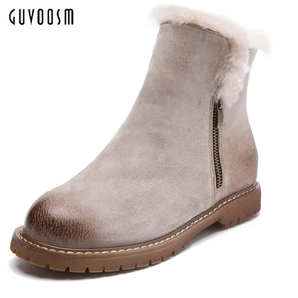 GuvsoomSnow Boots Women 100% Genuine Leather Thicken Plush Bota Feminina Winter Zapatos Mujer Natural Fur Warm Wool Shoes Woman fashion white silver boots women punk boot shoes woman 2018 spring super cool ankle boots for women bota feminina zapatos mujer