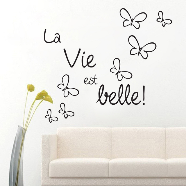Life Is Beautiful French Sayings Wall Stickers Beautiful Butterflies Home  Decor DIY Vinyl Wall Art Decal Part 55