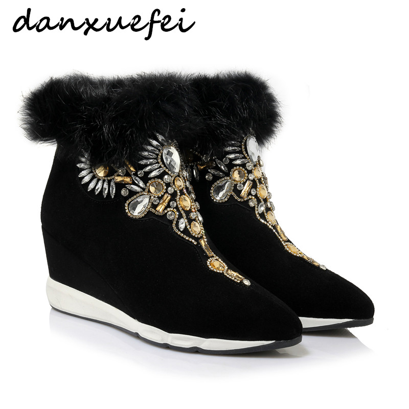 Womens Genuine Suede Leather Rhinestone fur Autumn Ankle Boots Brand Designer Pointed Toe Wedge Short Booties Shoes for Women