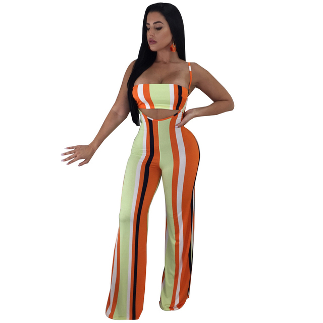 0af297ad7fd5 Two Piece Set Sexy Striped Jumpsuits Strapless Spaghetti Strap Wide Leg  Pants Rompers Womens Jumpsuit Club Party Summer Overalls
