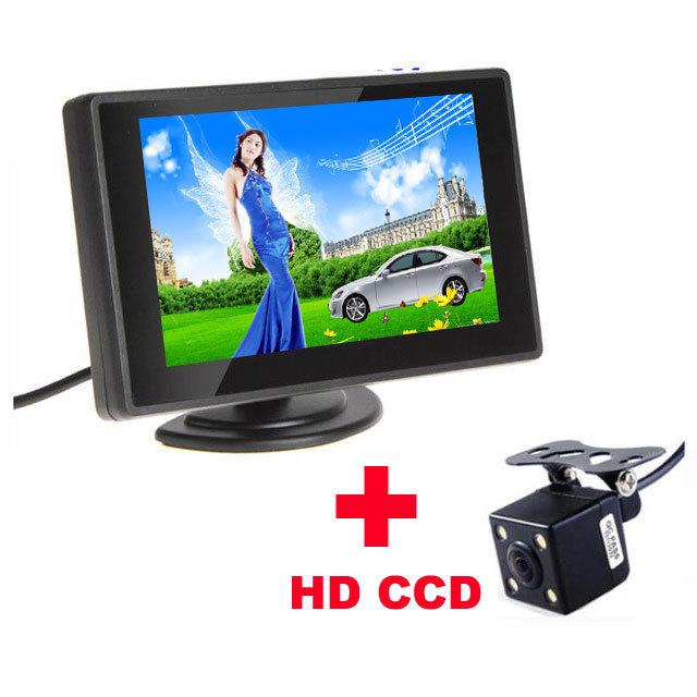 480TVL à prova d' água 2.8mm 170 Angle Lens CMOS Retrovisor Do Carro Estacionamento câmera Com 4.3 Polegada TFT LCD Monitor Para Reverter O Backup Cam