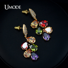 UMODE  Gold Plated Multicolor Crystal Stone Earrings For Women Water Drop Cubic Zirconia Cluster Dangle Earring AUE0009