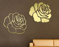 3D flower shaped mirror decoration TV background restaurants wall stickers with protective film