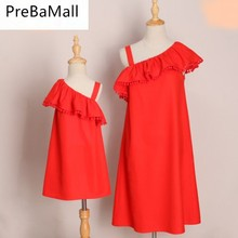 Lotus Leaf Sleeve Mother Daughter Dresses Parent-child Family Match Clothes Summer Fashion and Dress C77