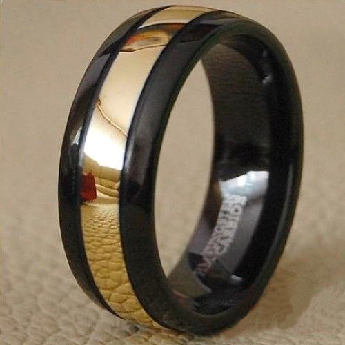 Luxury 8mm Black Men's Tungsten carbide Ring Gold center Wedding Band ring Free Shipping