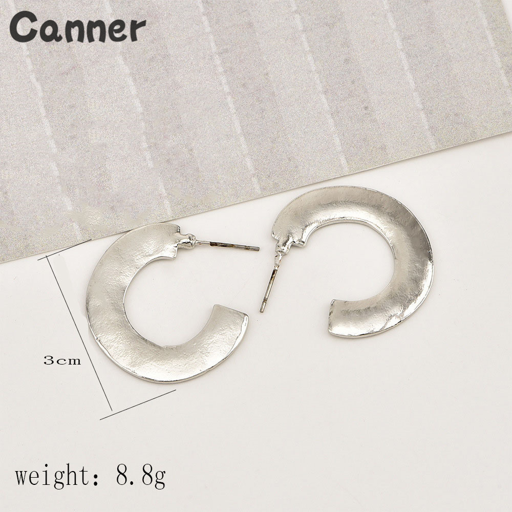 Canner New Fashion Jewelry Hoop Earring Sliver Gold Color Irregular Geometric Circles Earring For Women Girl Party Birthday Gift in Hoop Earrings from Jewelry Accessories