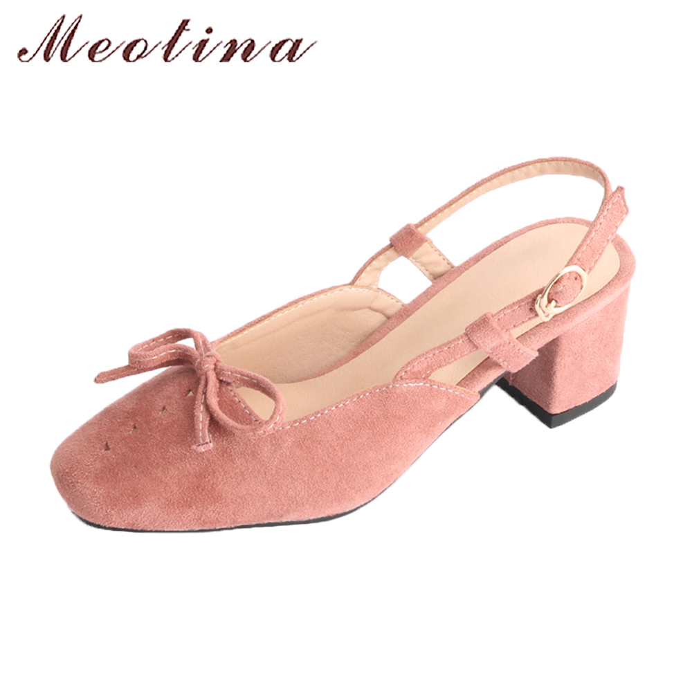 Meotina Women Slingbacks Thick High Heels Shoes Pumps Spring 2018 Buckle Strap Bow Shoes Female Pink Plus Size 44 Casual Shoes meotina high heels shoes women pumps party shoes fashion thick high heels pointed toe flock ladies shoes gray plus size 10 40 43