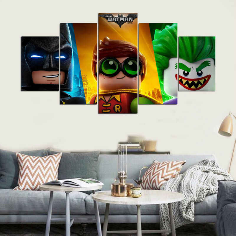 The Lego Batman Movie Joker Robin Batman 5 Piece Canvas Wall Painting Living Room Bedroom Home Decor Art Picture Movie Poster