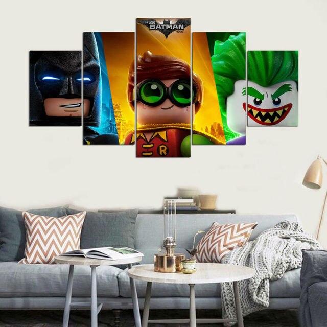 Các Lego Batman Movie Joker Robin Batman 5 Piece Vải tường Tranh Phòng Khách Phòng Ngủ Trang Trí Nội Thất Art Ảnh Movie Poster