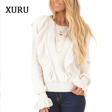 XURU winter new hot womens sweater fashion ruffled shirt loose trumpet sleeves casual knit Keep warm pullover