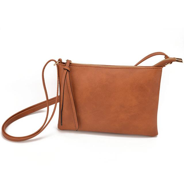 JIARUO Vintage Slim Thin Women Leather messenger bag envelope Crossbody bag for ladies mini shoulder bag handbag purses hand bag
