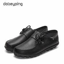 Dobeyping 봄 가을 정품 가죽 여성 신발 Moccasins 여성 플랫 신발 레이스 업 여성 로퍼 숙녀 운전 신발