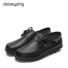 Dobeyping 春秋の本革の女性の靴モカシン女性フラットシューズレースアップ女性ローファー女性駆動靴