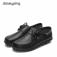 dobeyping Spring Autumn Genuine Leather Womens Shoes Moccasins Female Flats Shoe Lace Up Woman Loafers Ladies Driving Shoes