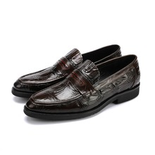 Crocodile Grain brown tan / black loafers mens dress shoes genuine leather wedding shoes mens casual business shoes