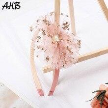 AHB Korean Sequin Lace Hair Bow Hairband for Girls Cute Headband with Teeth Summer Sweet Hoop Children Party Headwear