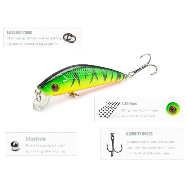 1 Pcs Fishing Lure Minnow 7cm 8g Crankbait Hard Bait Tight Wobble Slow sinking Jerkbait Pesca Fishing Tackle Accessories 3