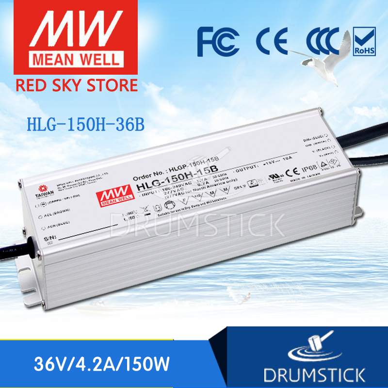 Hot sale MEAN WELL HLG-150H-36B 36V 4.2A meanwell HLG-150H 36V 151.2W Single Output LED Driver Power Supply B type genuine mean well hlg 320h 36b 36v 8 9a hlg 320h 36v 320 4w single output led driver power supply b type