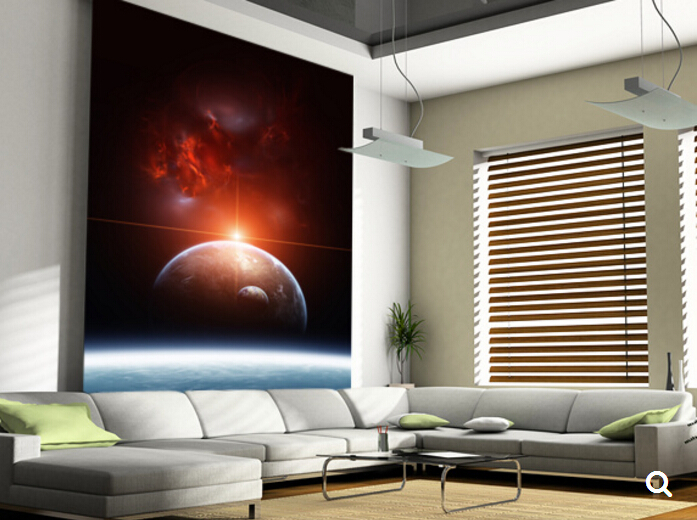 Custom children wallpaper,Earth with Planets and Red Nebula,3D modern mural for bedroom living room ceiling wall PVC wallpaper custom mural wallpaper creative space forest path 3d wall sticker wallpaper modern living room bedroom door mural pvc home decor