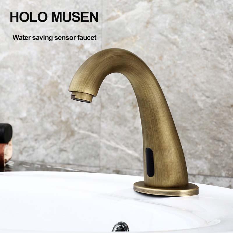 купить Vintage Touch Free Water Saving Infrared Sensor Faucet Hygeian Bronze Automatic Faucet Sensor Basin Faucet Cold Water по цене 5616.59 рублей